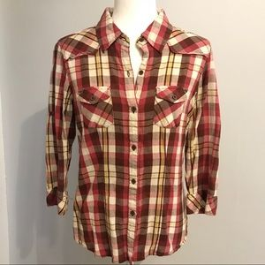 Girl Krazy Plaid Button Up Shirt Large Red Brown